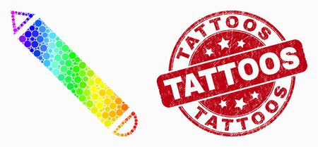 Pixelated spectrum pencil mosaic icon and Tattoos seal stamp. Red vector rounded textured seal stamp with Tattoos caption. Vector combination in flat style.