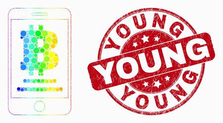Dotted bright spectral mobile bitcoin bank mosaic icon and Young seal stamp. Red vector round textured seal stamp with Young message. Vector combination in flat style.