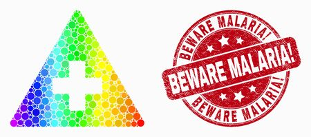 Dotted spectrum medical warning triangle mosaic pictogram and Beware Malaria! seal stamp. Red vector round distress seal stamp with Beware Malaria! title. Vector collage in flat style.