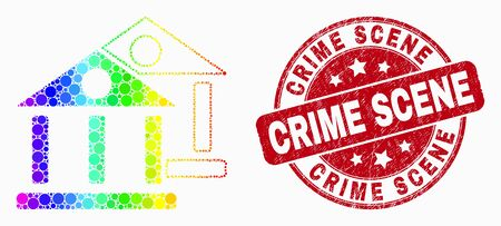 Dotted rainbow gradiented museum buildings mosaic icon and Crime Scene seal. Red vector rounded textured seal with Crime Scene message. Vector composition in flat style.