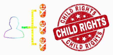 Dotted rainbow gradiented newborn parent links mosaic pictogram and Child Rights seal. Red vector rounded distress seal stamp with Child Rights message. Vector collage in flat style.