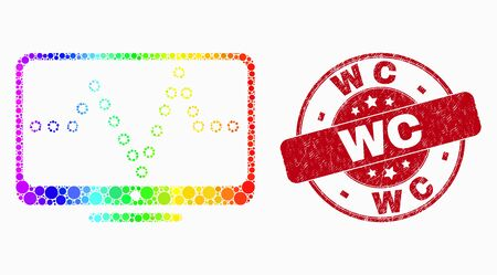 Dot bright spectral online dotted chart mosaic icon and WC stamp. Red vector round distress watermark with WC title. Vector collage in flat style.