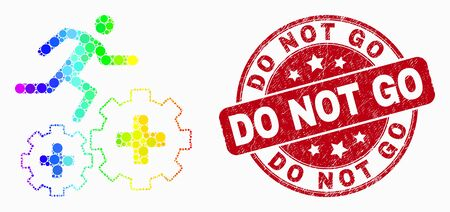 Dot rainbow gradiented patient run over gears mosaic icon and Do Not Go seal stamp. Red vector rounded textured watermark with Do Not Go message. Vector composition in flat style. 일러스트