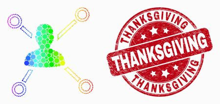 Dot rainbow gradiented person links mosaic pictogram and Thanksgiving watermark. Red vector round scratched seal with Thanksgiving text. Vector collage in flat style. 일러스트