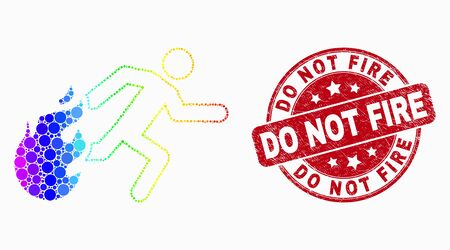 Dot rainbow gradiented person running away from fire mosaic pictogram and Do Not Fire seal. Red vector rounded grunge seal with Do Not Fire caption. Vector composition in flat style.