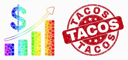 Pixel spectral profit up trend chart mosaic pictogram and Tacos seal stamp. Red vector round textured seal stamp with Tacos caption. Vector composition in flat style. 일러스트