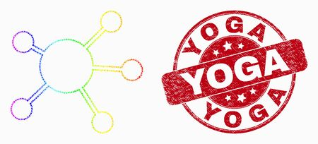 Dotted bright spectral node links mosaic pictogram and Yoga stamp. Red vector rounded grunge seal stamp with Yoga text. Vector collage in flat style.
