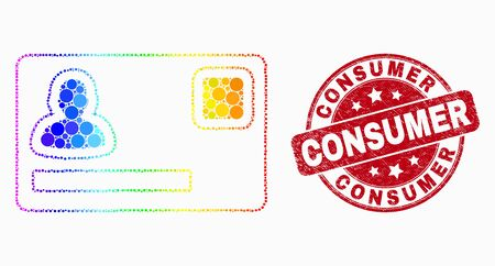Dot bright spectral personal credit card mosaic pictogram and Consumer watermark. Red vector rounded textured seal stamp with Consumer text. Vector combination in flat style.