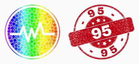 Pixelated bright spectral pulse signal mosaic icon and 95 stamp. Red vector round grunge seal with 95 text. Vector composition in flat style.