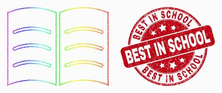 Dot spectral open book mosaic icon and Best in School stamp. Red vector rounded textured seal with Best in School phrase. Vector collage in flat style.