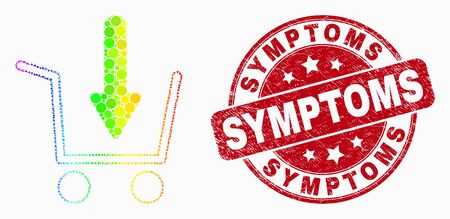 Pixel bright spectral put shopping item mosaic pictogram and Symptoms stamp. Red vector rounded textured seal with Symptoms title. Vector collage in flat style. 일러스트