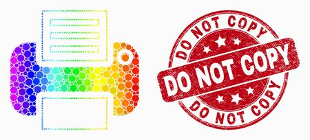 Dotted spectrum printer mosaic pictogram and Do Not Copy watermark. Red vector round grunge stamp with Do Not Copy title. Vector collage in flat style.