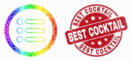 Pixelated rainbow gradiented rounded items mosaic icon and Best Cocktail watermark. Red vector rounded scratched seal stamp with Best Cocktail message. Vector combination in flat style.