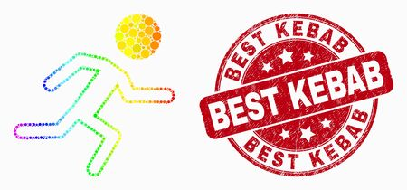 Pixel spectrum running boy mosaic icon and Best Kebab seal stamp. Red vector round distress seal stamp with Best Kebab caption. Vector collage in flat style.