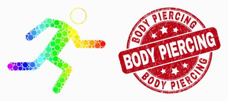 Pixelated bright spectral running man mosaic icon and Body Piercing seal. Red vector round distress stamp with Body Piercing text. Vector composition in flat style.