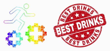 Pixelated bright spectral running patient on gears mosaic pictogram and Best Drinks stamp. Red vector rounded scratched seal stamp with Best Drinks phrase. Vector combination in flat style.