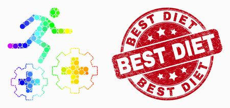 Pixelated spectrum running patient on gears mosaic pictogram and Best Diet seal stamp. Red vector round textured stamp with Best Diet text. Vector collage in flat style.