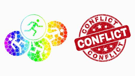 Pixel spectrum running persons mosaic icon and Conflict seal stamp. Red vector rounded grunge stamp with Conflict title. Vector collage in flat style. Иллюстрация