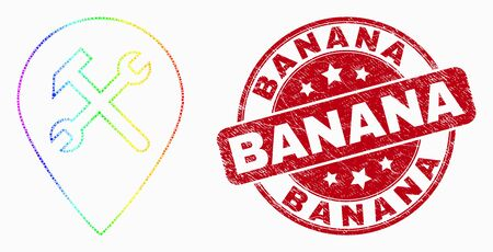 Dotted bright spectral service map pointer mosaic pictogram and Banana seal stamp. Red vector rounded textured seal stamp with Banana title. Vector combination in flat style. Иллюстрация