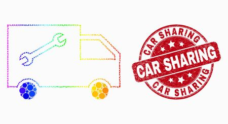 Pixel rainbow gradiented service van mosaic pictogram and Car Sharing seal stamp. Red vector rounded scratched seal stamp with Car Sharing text. Vector collage in flat style.