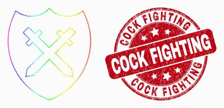 Pixelated spectrum shield and swords mosaic pictogram and Cock Fighting seal stamp. Red vector round textured seal with Cock Fighting caption. Vector composition in flat style.