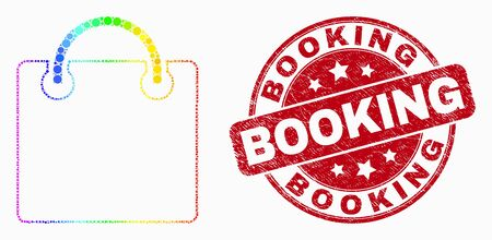 Dot bright spectral shopping bag mosaic icon and Booking seal. Red vector rounded grunge seal stamp with Booking title. Vector composition in flat style.