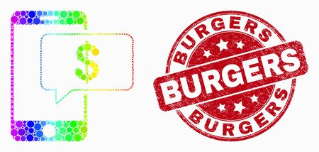 Dot spectral smartphone bank message mosaic icon and Burgers watermark. Red vector round grunge watermark with Burgers phrase. Vector combination in flat style. 일러스트