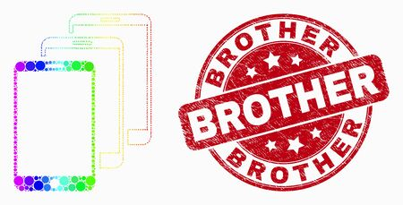 Dot spectral smartphones mosaic icon and Brother seal stamp. Red vector rounded textured seal stamp with Brother phrase. Vector combination in flat style.