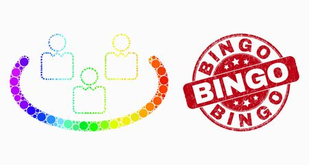 Pixelated rainbow gradiented social ring mosaic icon and Bingo stamp. Red vector rounded distress seal stamp with Bingo text. Vector composition in flat style.