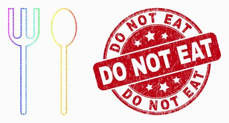 Dot bright spectral spoon and fork mosaic pictogram and Do Not Eat seal stamp. Red vector rounded distress seal stamp with Do Not Eat caption. Vector combination in flat style.