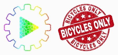 Dot rainbow gradiented start gear automation mosaic pictogram and Bicycles Only seal. Red vector rounded distress stamp with Bicycles Only title. Vector collage in flat style.