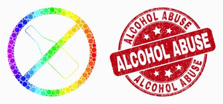 Dotted spectrum stop drinking mosaic pictogram and Alcohol Abuse seal. Red vector round textured seal stamp with Alcohol Abuse text. Vector collage in flat style.
