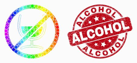 Pixel rainbow gradiented stop wine glass mosaic icon and Alcohol stamp. Red vector rounded textured seal stamp with Alcohol phrase. Vector composition in flat style.