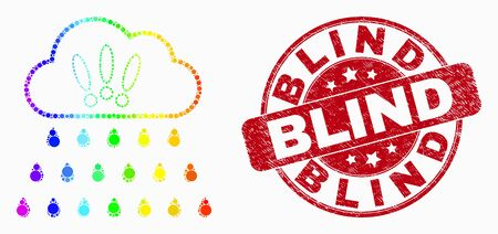 Dotted bright spectral strong rain clouds mosaic pictogram and Blind seal stamp. Red vector rounded textured watermark with Blind message. Vector collage in flat style. 일러스트