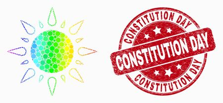 Dotted spectrum sunshine mosaic pictogram and Constitution Day seal. Red vector rounded distress seal stamp with Constitution Day phrase. Vector collage in flat style. 일러스트