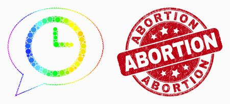 Pixel spectrum time message balloon mosaic pictogram and Abortion seal. Red vector rounded grunge stamp with Abortion title. Vector composition in flat style.