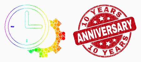 Pixel rainbow gradiented time settings gear mosaic icon and 10 Years Anniversary watermark. Red vector round textured watermark with 10 Years Anniversary text. Vector combination in flat style.