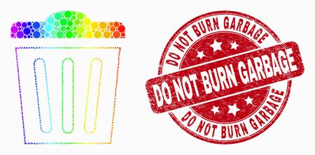 Dotted spectrum trashcan mosaic icon and Do Not Burn Garbage stamp. Red vector round scratched stamp with Do Not Burn Garbage phrase. Vector combination in flat style. 일러스트