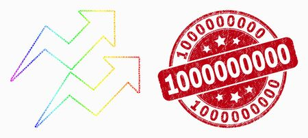 Dotted spectrum trend arrows mosaic icon and 1000000000 stamp. Red vector round distress seal stamp with 1000000000 message. Vector composition in flat style.