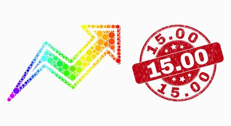 Dot rainbow gradiented trend arrows mosaic icon and 15.00 seal. Red vector round grunge stamp with 15.00 message. Vector combination in flat style.