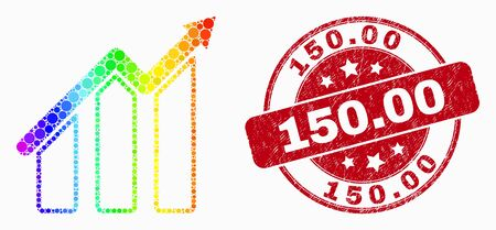 Dot rainbow gradiented trend chart mosaic icon and 150.00 seal stamp. Red vector round distress seal stamp with 150.00 caption. Vector composition in flat style. Иллюстрация