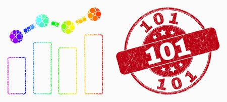 Dot spectral trend chart mosaic icon and 101 seal stamp. Red vector rounded grunge seal stamp with 101 caption. Vector composition in flat style. 일러스트