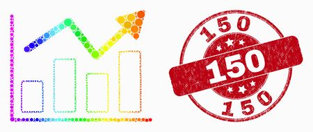 Pixelated bright spectral trend chart mosaic icon and 150 stamp. Red vector rounded textured seal stamp with 150 title. Vector composition in flat style.