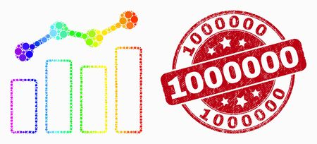 Dot spectrum trend charts mosaic icon and 1000000 seal stamp. Red vector rounded textured seal stamp with 1000000 title. Vector combination in flat style. Иллюстрация