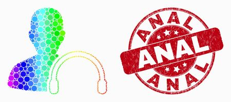 Dotted rainbow gradiented user headphones mosaic pictogram and Anal seal stamp. Red vector rounded grunge stamp with Anal title. Vector combination in flat style. Illustration