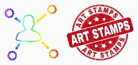 Dot rainbow gradiented user links mosaic pictogram and Art Stamps seal stamp. Red vector rounded scratched seal with Art Stamps caption. Vector composition in flat style. Иллюстрация