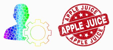 Pixel spectral user options gear mosaic pictogram and Apple Juice seal stamp. Red vector rounded scratched seal stamp with Apple Juice phrase. Vector composition in flat style.