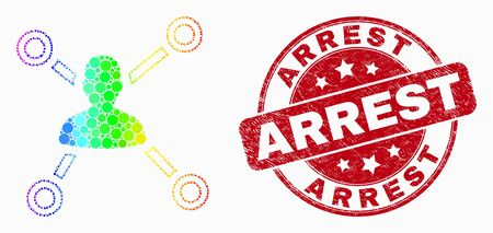 Pixel rainbow gradiented user links mosaic pictogram and Arrest seal stamp. Red vector rounded scratched seal stamp with Arrest title. Vector combination in flat style.