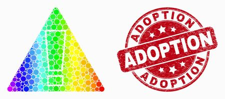 Dot spectrum warning mosaic icon and Adoption seal. Red vector rounded grunge stamp with Adoption phrase. Vector composition in flat style. Bright gradient warning mosaic of scattered circles,