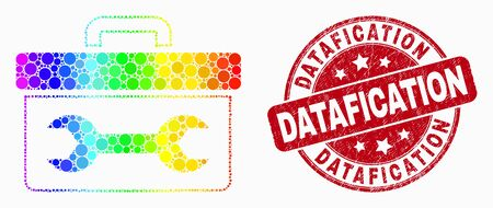 Dotted spectrum wrench toolbox mosaic icon and Datafication stamp. Red vector round grunge watermark with Datafication caption. Vector combination in flat style.